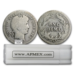 $5 Barber Dimes - 90% Silver 50-Coin Roll (Average Circulated)