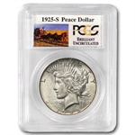 1925-S Brilliant Uncirculated PCGS Stage Coach Silver Dollars