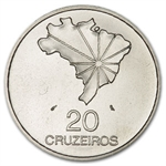 Brazil 1972 20 Cruzeiros Silver Brilliant Uncirculated
