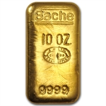 10 oz Johnson Matthey Gold Bar (Bache) .9999 Fine
