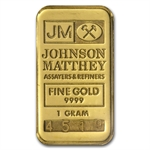 1 gram Johnson Matthey Gold Bar .999 Fine (W/Logo)
