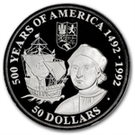 Cook Islands $50 Silver Proof 500 Years of America