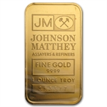 1 oz Johnson Matthey Gold Bar .9999 Fine (Logo Back, No Assay)