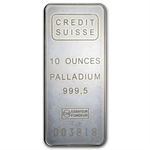 10 oz Credit Suisse Palladium Bar .9995 Fine