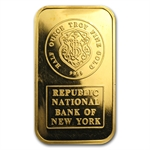 1/2 oz Republic National Bank New York Johnson Matthey Gold Bar