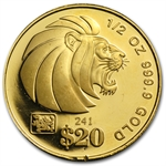 Singapore 1/2 oz Gold Coin - Abrasions Random Dates