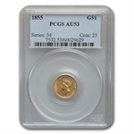 1855 $1 Indian Head Gold - AU-53 PCGS