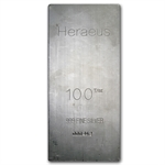 100 oz Heraeus Silver Bar (Extruded) .999 Fine