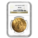 Mexico 1929 50 Peso Gold NGC MS-64