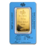 50 gram Pamp Suisse Gold Bar (Pressed) .9999 Fine