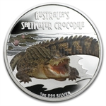 2009 1 oz Proof Silver Saltwater Crocodile- Deadly and Dangerous