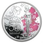2009 1 oz Proof Silver Barbie 50th Anniversary Coin