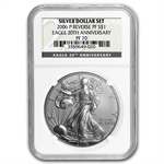 2006-W (3-Coin) Silver Eagle Set MS-70 & PF-70 NGC Registry Set
