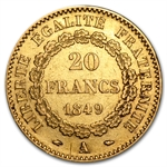 France 1848-1849 Gold 20 Francs Angel EF