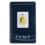 1 gram Fortuna Oval-Shaped Pamp Suisse Gold Pendant