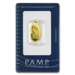2.5 gram Fortuna Oval-Shaped Pamp Suisse Gold Pendant .9999 Fine