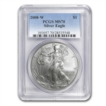 2008-W (Burnished) Silver American Eagle MS-70 PCGS