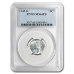 1943-D MS-64 Full Split Bands PCGS - Mercury Dime