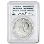 1976-S Eisenhower Dollar Autographed Gem Unc - PCGS -  3 Coin SET