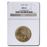 1914 $10 Indian Gold Eagle - MS-62 NGC