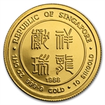 Singapore 1988 1/10 oz Gold Proof 10 Singold - Year of the Dragon