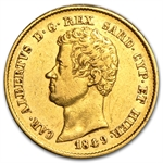 Sardinia 20 Lire Gold AGW .1867 EF or Better