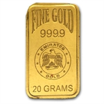 20 Gram Emirates Gold Bar .9999 Fine