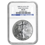2008-W (Burnished) Silver American Eagle MS-69 NGC (ER)