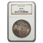 1891-CC Morgan Dollar MS-64 NGC