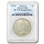 1922-D Peace Dollar VF-30 PCGS 40 Degree CW Rotated Rev. Error