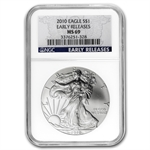 2010 Silver American Eagle - MS-69 NGC - Blue Label/Early Release