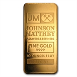 10 oz Johnson Matthey Pressed Gold Bar .9999 Fine (Logo Back)