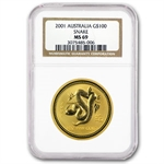 2001 1 oz Gold Year of the Snake Lunar Coin (Series I) NGC MS-69