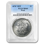 1878 Morgan Dollar - 7/8 Tailfeathers - Weak MS-64 PCGS