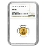 Russia 1902 5 Rouble Gold MS-67 NGC