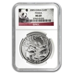 2005 Silver Chinese Panda 1 oz - MS-69 NGC