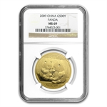 2009 1 oz Gold Chinese Panda MS-69 NGC