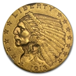 1913 $2.50 Indian Gold Quarter Eagle - AU-58 NGC