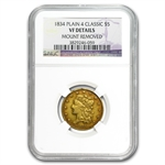 1834 $5 Gold Classic Head Half Eagle - VF Details NGC - (Rim Dmg)