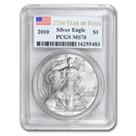 2010 Silver American Eagle - MS-70 PCGS - 25th Year of Issue