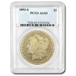 1893-S Morgan Dollar Almost Good-3 PCGS Low Ball Registry Coin