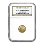 1984 Isle of Man 1/10 oz Gold Angel NGC PF70 UCAM
