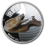 2010 1/2 oz Proof Silver Moray Eel - Sea Life I Series