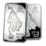 10 oz Tiger Proof-Like Silver Bar .999 Fine