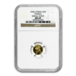 1996 (1/20 oz) Gold Chinese Pandas - MS-69 NGC Small Date