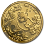 1992 (1/20 oz) Gold Chinese Pandas - MS-69 NGC Small Date