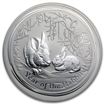 2011 1 Kilo (32.15 oz) Silver Australian Year of the Rabbit