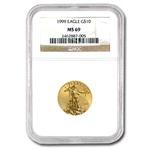 1999 1/4 oz Gold American Eagle MS-69 NGC