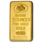 5 oz Pamp Suisse Gold Bar .9999 Fine (No assay)