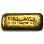 2 oz Engelhard Poured Gold Bar .9999 Fine